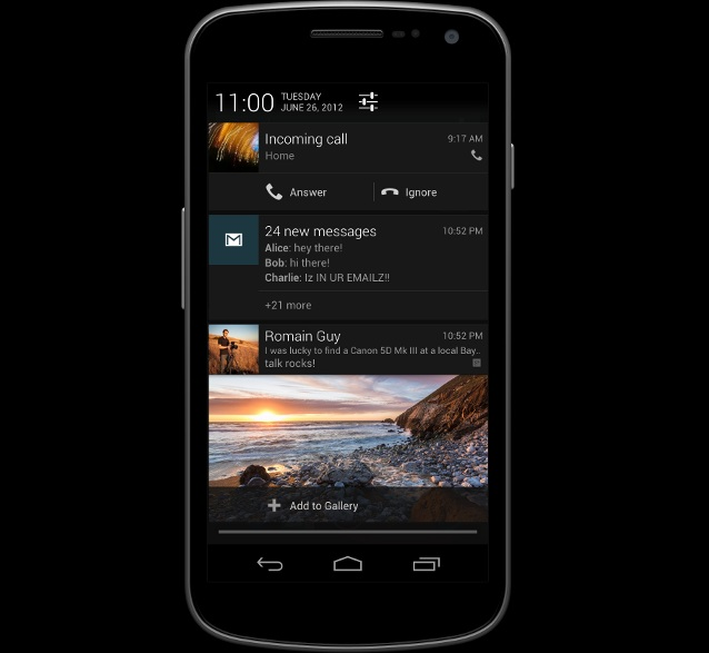 Jelly Bean notification system