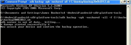 adb commands for android phone backup