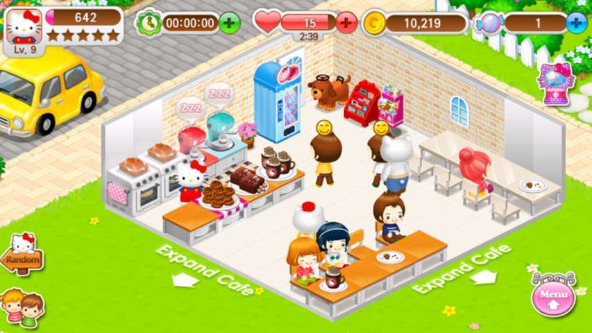 hello kitty coffee characters and play